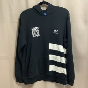 Unique Adidas hoodie with wide stripe graphic and embroidered 03 on chest